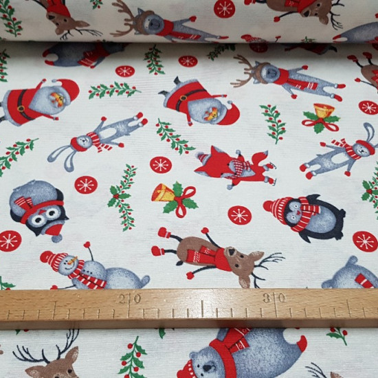 Canvas Christmas Animals fabric - Nice canvas fabric printed with drawings of Santa Claus, owls, penguins, polar bears, foxes and more animals with Christmas decorations on a white background.