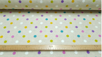 Canvas Polka Dots Multicolor fabric - Very funny canvas fabric with drawings of moles or polka dots of various colors on a beige background. You can use this canvas fabric for a multitude of creations, whether they be bags, children's decorations, cushion