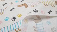 Tela Loneta Perros Salchicha - Divertida tela de loneta con dibujos de perros salchicha con cuerpo de rayas de colores con huesos negros y huellas en varios colores sobre un fondo blanco roto efecto jaspeado. Esta tela mide 280cm de ancho, lo que