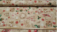 Canvas Christmas Cookies fabric - Christmas style canvas fabric with drawings of gingerbread cookies in the shape of dolls, stars, hearts... and more Christmas ornaments such as candy canes, holly, pineapples and socks on a background imitating wood.