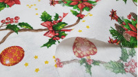 Canvas Christmas Branches Holly fabric - Decorative canvas fabric with drawings of holly branches and ornaments such as jingle bells, bells, balls and hearts on a white background with golden stars. The fabric is 280cm wide and its composition 70% cotton