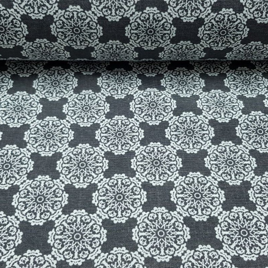Canvas Mandalas White Dark Gray fabric - Decorative canvas fabric with patterns of mandalas with white geometric shapes on a dark gray background pulling black slate. The canvas is a very strong and strong fabric, ideal for making cushions, sofa covers, c