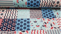 Canvas Sailor Style fabric - Strong and resistant canvas fabric with sailor-style drawings, such as goldfish, anchors, rudders, boats ... in blue and red tones. The fabric is 280cm wide and its composition is 50% cotton - 50% polyester