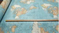 Tela Loneta Mapamundi Azul - 20/05/2020 –Actualizado con nuevodibujo Tela de loneta muy original con dibujos de mapamundi. Los textos pequeños del mapa no se ven con claridad.Es una tela muy resistente y seguro que queda perfecta como decorac