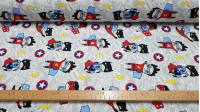 Canvas Superheroes Drawings fabric - Decorative canvas fabric with drawings of superheroes and lightning symbols and shields on a light background with comic motifs. The fabric is 280cm wide and its composition is 50% cotton - 50% polyester