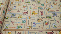 Canvas Cocktail fabric - Decorative canvas fabric with cocktail-themed drawings where various combinations of drinks and their names appear. The fabric is 280cm wide and its composition is 70% cotton - 30% polyester.