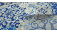 Canvas Blue Hydraulic Mosaic fabric - Decorative canvas fabric with hydraulic mosaic style tile patterns in blue tones. The fabric is 280cm wide and its composition 70% cotton - 30% polyester