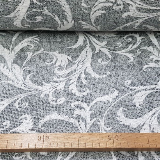 Canvas Gray Floral fabric - Strong and resistant canvas fabric with floral patterns on a marbled gray background. The canvas is ideal for decoration and large crafts, as well as for making bags, backpacks and much more ... The fabric is 280cm w