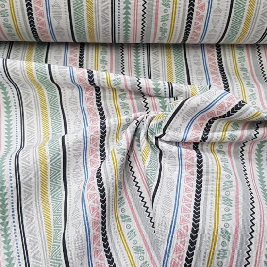 Tela Loneta Rayas Estilo Azteca - Tela de loneta decorativa con dibujos de rayas y formas de varios colores estilo azteca sobre un fondo blanco. La tela mide 280cm de ancho y su composición 70% algodón - 30% poliester.