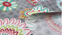 Canvas Large Flowers Colors Gray fabric - Decorative canvas fabric with drawings of large colored flowers on a gray background with small flowers. The fabric is 280cm wide and its composition 70% cotton - 30% polyester