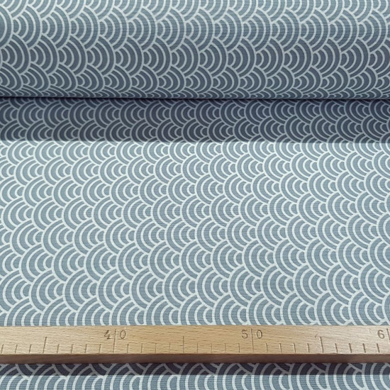 Canvas Japanese Waves Gray fabric - Decorative canvas fabric with drawings simulating Japanese style waves or white bows on a gray background. The fabric is 280cm wide and its composition is 50% cotton - 50% polyester.