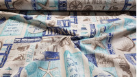 Canvas Sea Playa Carmen fabric - Decorative canvas fabric with sailor motifs where drawings of starfish, lighthouses, shells ... The fabric is 280cm wide and its composition is 70% cotton - 30% polyester.