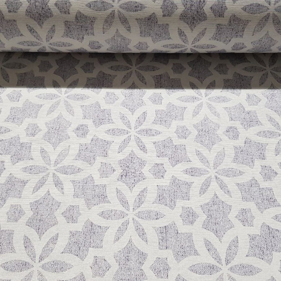 Canvas White Gray Estelas fabric - Decorative canvas fabric with geometric shapes of white stars on a gray background. The fabric is 280cm wide and its composition is 70% cotton - 30% polyester.