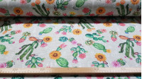 Canvas Flowered Cactus fabric - Decorative canvas fabric with drawings of flowered cacti and sunflowers on a light background with white details of floral contours. The fabric is 280cm wide and its composition is 70% cotton - 30% polyester.