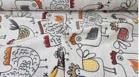 Canvas Chickens fabric - Decorative canvas fabric with large drawings of chickens and roosters. The fabric is 280cm wide and its composition is 70% cotton - 30% polyester