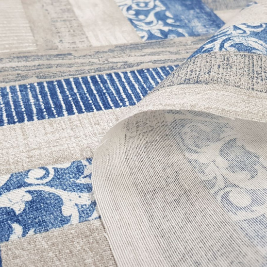 Canvas Textures Gray Blue fabric - Decorative canvas fabric with textural drawings in rectangles where gray and blue colors predominate. The fabric is 280cm wide and its composition is 70% cotton - 30% polyester.