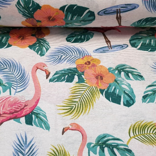 Canvas Flamingos fabric - Canvas fabric printed with drawings of flamingos, leaves and flowers.