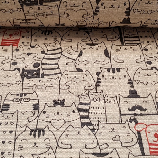 Canvas Funny Cats fabric - Very funny canvas with drawings of kittens of many types in black stroke, some fat kittens, some kittens with glasses... and in the middle of so much cat, a puppy with a red stroke.