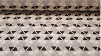 Canvas Triangles White Gray Black fabric - Strong canvas fabric ideal for home decorations and upholstery. Beautiful fabric with drawings of triangles forming patterns of white, black and gray colors on a beige background. Shades that can combine with man
