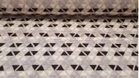 Tela Loneta Triangulos Blanco Gris Negro - Tela de loneta resistente e ideal para decoraciones del hogar y tapicería. Bonita tela con dibujos de triangulos formando tramas de colores blanco, negro y gris sobre un fondo beige. Tonos que pueden combinar con