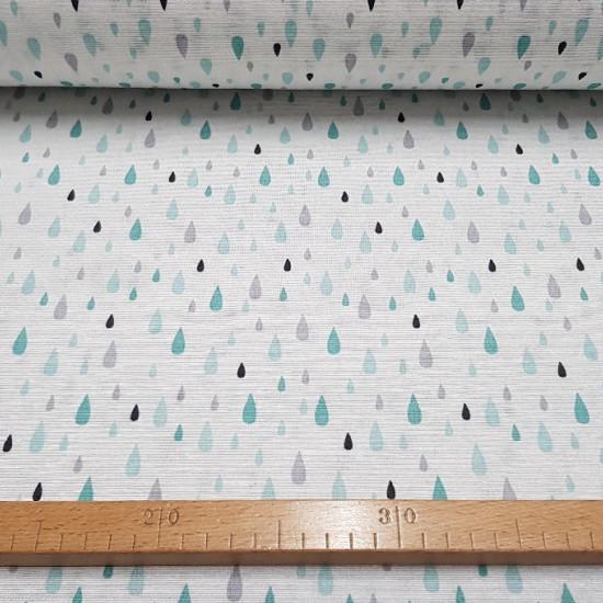 Tela Loneta Gotas Lluvia - Preciosa tela de loneta estampada, con dibujos de gotas de diferentes tamaños en colores verdes y grises sobre fondo blanco. La loneta es un tejido muy resistente ideal para decoraciones del hogar, bolsos y otros complem