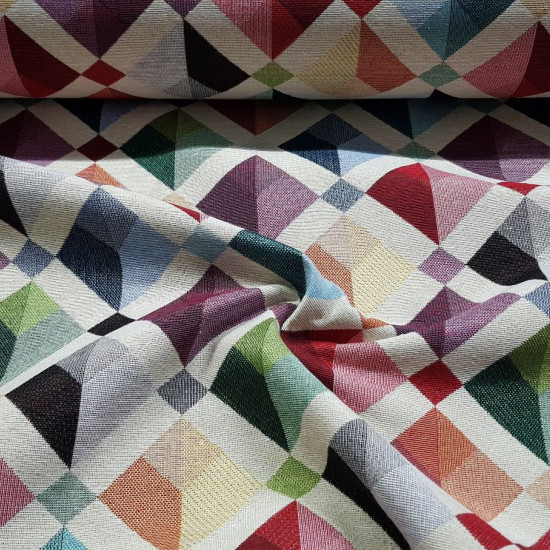 Gobelin Rhombus Patrick fabric - Decorative gobelin fabric with colored rhombus patterns forming a mosaic. A strong and resistant jacquard fabric ideal for decorating home spaces, making cushions, bedspreads, bags and much more ... The fabric is 280