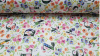 Half Panama Digital Flowers Letters fabric - Half Panama canvas fabric in digital print with colorful flower drawings and large letters on a white background. The fabric is 280cm wide and its composition 100% cotton.