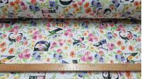 Tela Half Panamá Digital Flores Letras - Tela de loneta half panamá en impresión digital con dibujos de flores de colores y letras grandes sobre un fondo blanco. La tela mide 280cm de ancho y su composición 100% algodón.