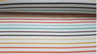 Tela Half Panamá Digital Rayas - Tela de loneta half panamá en impresión digital con dibujos de rayas de colores sobre fondo blanco. La tela mide 280cm de ancho y su composición 100% algodón.