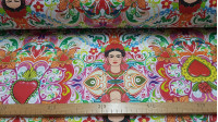 Half Panama Digital Frida Kahlo fabric - Half Panama cotton fabric in digital printing with drawings forming mosaics where the face of the Mexican painter Frida Kahlo appears surrounded by very colorful flowers and hearts of various sizes. The fabric is 2