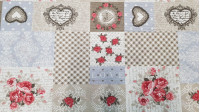 Canvas Hearts and Roses fabric - Canvas fabric ideal for home decorations and accessories. It is a fabric with drawings of hearts of various models, roses, squares and polka dots, all in different boxes that give it a very original and vintage touch.