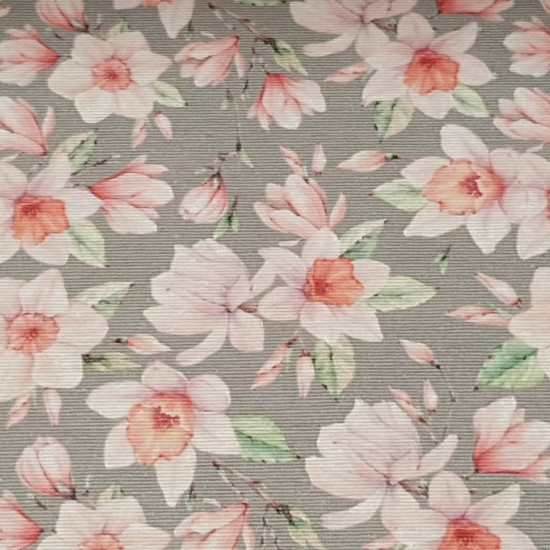 Canvas Gray Narcissus Flowers fabric - Canvas fabric with flower drawings of daffodils on a gray background. The canvas fabric is a resistant fabric with an ideal width to carry out large-scale works, such as curtains, sofa covers ... it is also ideal for