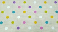 Tela Loneta Topos Multicolor - Tela de loneta muy divertida con dibujos de topos o lunaresde varios colores sobre un fondo beige. Esta tela de loneta la podrás usar para multitud de creaciones, ya sean bolsos, decoraciones infantiles, cojines...