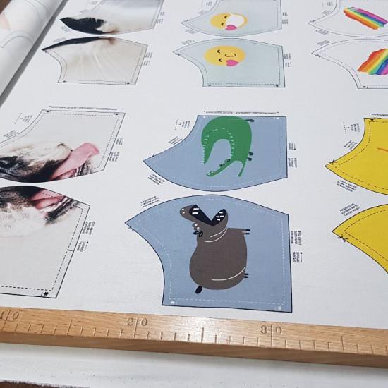 Tela Algodón Mascarillas Preimpresas - Tela de algodón con impresión digital de diseños de mascarillas. Esta tela se podrá comprar en múltiplos 20cm, es decir: no se podrá seleccionar 50cm o 75cm, pero si se podrá 40cm o 60cm. Si se selecciona 20cm te env