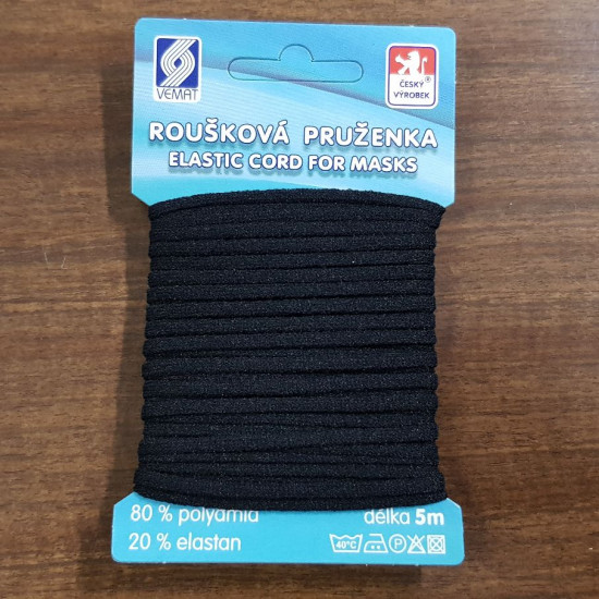 Cordón Elástico Mascarillas 2.5mm Blister - Cordón elástico suave para mascarillas, presentado en blister con una longitud de 5 metros aprox. Su diámetro es de 2,5mm. La composición de este cordón es 80% poliamida - 20% elast