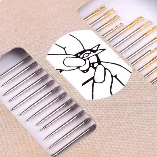 Self Threading Needles - Set of 12 hand sewing needles for easy threading or self-threading. Needles of the following lengths are included: 38, 40 and 45mm