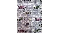 Tela Algodón Motos Colores Patchwork - Tejido Patchwork 100% Algodón Dibujos de motos de diferentes colores sobre un fondo predominante de colores grises