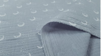 Double Gauze Moons fabric - Double gauze or muslin fabric with moon patterns on a gray background. The fabric is 135cm wide and its composition is 100% cotton.