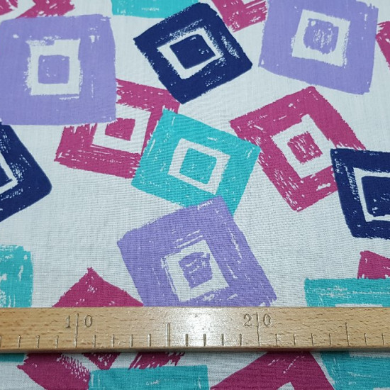 OUTLET Square Shape Popelin fabric - Poplin fabric with drawings of paintings of various colors in shades of blue, turquoise and lilac. The fabric measures 80cm and its composition is cotton and polyester blend. Cheap Fabric Outlet Clearance