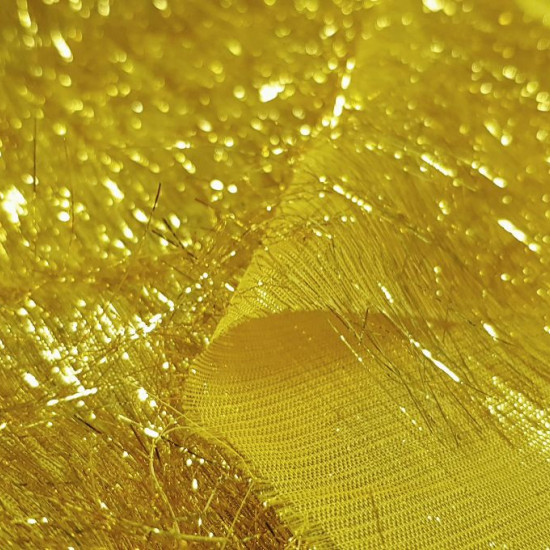 """Tela OUTLET Hilos Lurex Dorado - Tela brillante ideal para disfraces y decoraciones en el que hay """"hilos"""" dorados hechos de lurex, un material brillante y llamativo. La tela mide 110cm de ancho y su composición 100% poliester. Tela Outlet Liquid"""