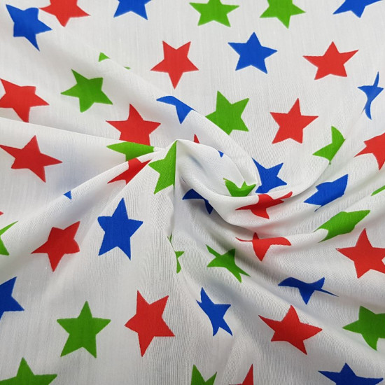 OUTLET Stars Colors White Background fabric - Fine fabric with blue, green and red colored star patterns on a white background. The fabric is 160cm wide. Fabric Outlet Cheap Clearance.