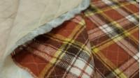 Tela Retal Franela Acolchada - Retal de franela acolchada con cuadros de tipo escocés colores rojo teja, marrony amarillo.  Medidas (cm): 130x140