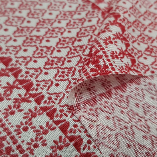 OUTLET Flowers Ethnic Forms Knitted fabric - Knitted fabric with ethnic drawings of flowers and other red shapes on a white background. The fabric measures 120cm wide and its 100% polyester composition. Fabric clearance, outlet, cheap.