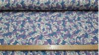 Tela OUTLET Crespón Flores Vintage Azul Lila - Tejido de crespón con dibujos de flores estilo vintage de color azúl y lila La tela mide 110cm de ancho Tela Outlet Barata Liquidación