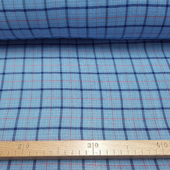 OUTLET Bambula Blue Squares fabric - Very fine bambulafabric, like a gauze with patterned drawings in blue tones. The fabric is 120cm wide and its composition is 100% cotton. Cheap fabric outlet clearance