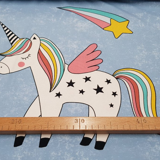 Cotton Jersey Panel Unicorn fabric - Cotton jersey panel designed by BIPP Design® in which there are 3 designs in the same piece with drawings of unicorns.