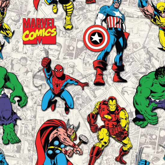 Cotton Marvel Heroes fabric - Licensed cotton fabric featuring superhero drawings of Marvel comic characters on a light comic book-like background. The characters Spiderman, Thor, Captain America, Hulk, Ironman and Wolverine appear. The fabric is
