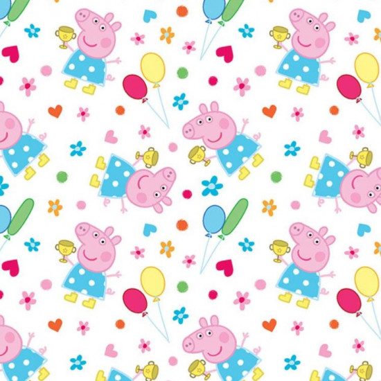 Cotton Peppa Pig Balloons fabric - Licensed cotton fabric with drawings of the Peppa Pig character with colorful balloons, flowers, hearts and polka dots on a white background. The fabric measures between 140-150cm wide and its composition is 100% cot