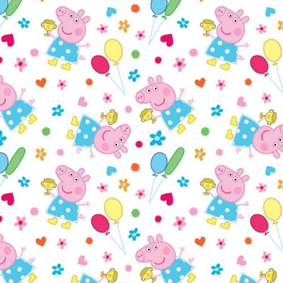 Tela Algodón Peppa Pig Globos - Tela de algodón licencia con dibujos del personaje Peppa Pig con globos de colores, flores, corazones y topos sobre un fondo blanco. La tela mide entre 140-150cm de ancho y su composición 100% algodón.