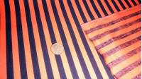 Tela OUTLET Algodón Rayas - Tejido de algodón fuerte estampada con rayas negras y naranjas. Usado mucho en la confección de delantales, disfraces para halloween, patchwork... Tela Outlet Barata Liquidación